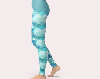 Mermaid Yoga Pants, Mermaid Leggings, Long Yoga Leggings, Long Yoga Pants, Mermaid Pants, Pilates Wear, Athletic Leggings, Athletic Pants