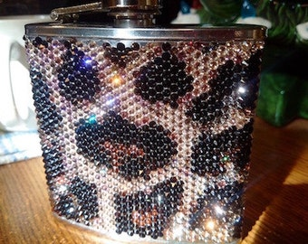 Eclectic Leopard 6 oz Flask, 9 colours of Swarovski give it the look of velvet!