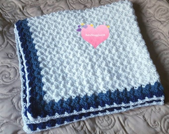 "Crocheted marshmallow blanket in white and blue. 35""x33"" Christening gift, baby shower. 89cm x 84cm. Handmade. New baby."