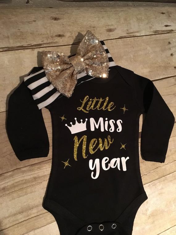 New Years Onesie, baby girl, little miss new year