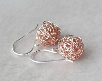 Rosé gold gold filled earring of earrings balls ELfuchsArt