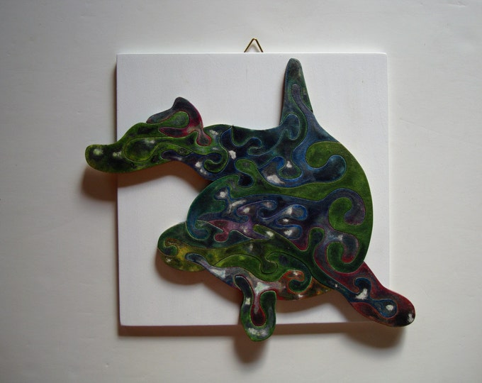 Puzzle Art: Dolphin, Smart toy, With Frame, Ready To Hang, Family Gift, Waldorf Child Gift, Wooden Handmade, Acrylic On Pieces by Samo Svete