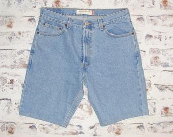 W35 Levi 505 knee length vintage hemmed shorts high waist lightblue (GG99)