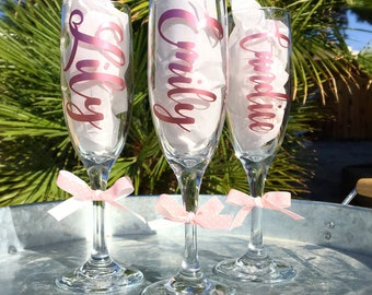 Personalized Champagne Flutes | Metallic | Calligraphy | Custom | Birthday | Bachelorette Party | Girls Night | Gifts | Drinking Favors
