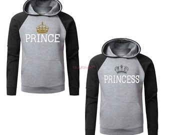 Prince Princess Hoodies King Queen Raglan Hoodies Couple Hoodies pärchen pullover Couple Sweatshirts Hooded Gift For Couples