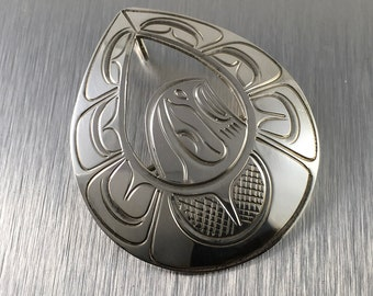 Haida Eagle Sterling Silver Pendant Brooch Pin Signed Teardrop Shape Hand Engraved Coast Salish Haida
