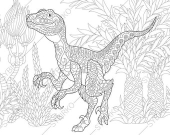 Adult Coloring Pages Dinosaur Velociraptor Zentangle Doodle For Adults Digital Illustration