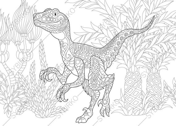 Adult Coloring Pages Dinosaur Velociraptor Zentangle Doodle