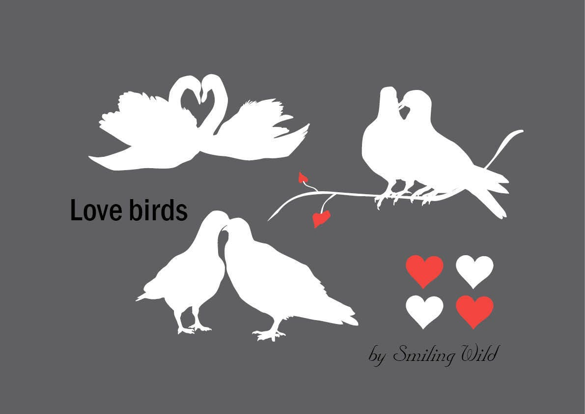 love birds svg love swan pigeon dove harts silhouette instant