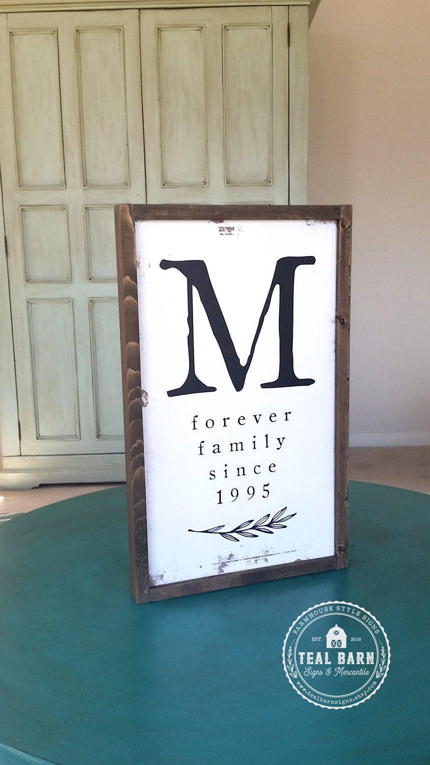 Family Initial Sign Established Date Forever Family Name Farmhouse Frame Magnolia Farm Joanna Fixer Upper