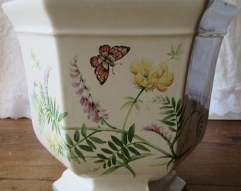 Royal Winton Country Diary Collection planter hexagonal dog rose lavender wild flowers butterfly vintage shabby chic cottage chic 1977