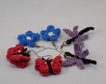 Set of 3 Crochet Earrings: butterfly, flower, dragonfly, Made in Canada