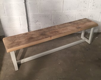 Reclaimed Timber Steel Bench in White.