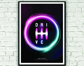 Movie print inspired by modern classic - Drive. Stylish wall art with cool neon colours gives a rerto 80s feel.