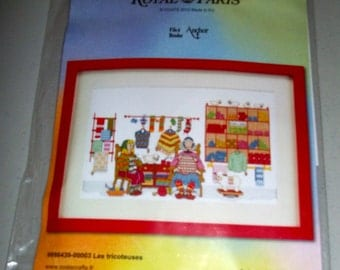 Cross-stiching kit - Les tricoteuses (The knitters) - Like New