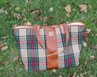 Monogram Plaid Tote Bag