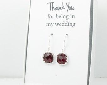 Garnet Silver Earrings, Red Silver Square Earrings, Garnet Silver Wedding Jewelry, Bridesmaid Earrings, Red Bridal Accessories
