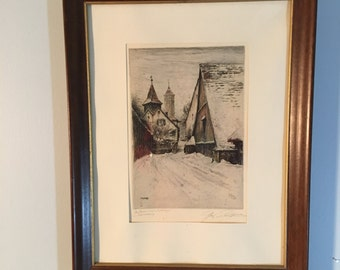 Paul Geissler signed etching