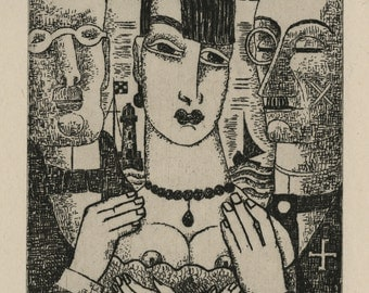 """MARCEL GROMAIRE (French, 1892-1971)', """"Suitors"""", 1927, original etching"""