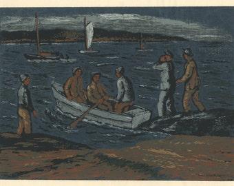"MAX ARTHUR COHN (American, 1903-1998), ""Gloucester Fishermen"", 1945, serigraph, pencil signed."