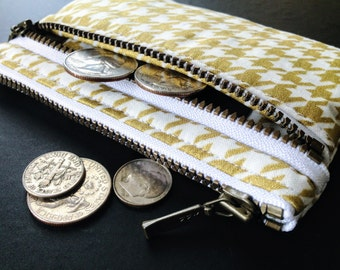Gold Houndstooth Coin & Card Purse | double zipper coin purse | card organizer | Coin Purse for Girls | Play Wallet