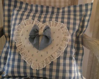 Handmade Blue&White heart and bow pillow