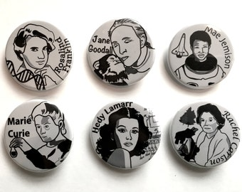 """Women in Science Button Six Pack, 1 1/4"""" each"""