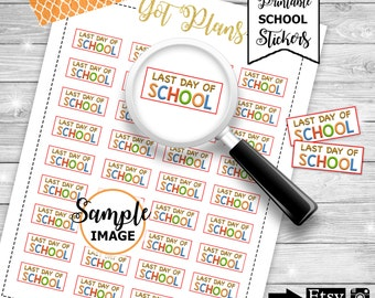 Last Day Of School Stickers, Printable School Planner Stickers, School Labels for Planners