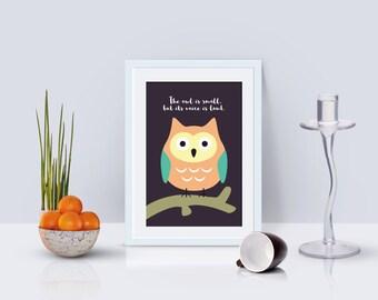 Owl Print kids room wall art, nursery wall art, printable art for kids, animal nursery decor art, kids print, baby animal print