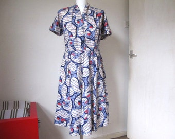 Vintage 50's dress, Authentic cotton print dress, Rockabilly 50s retro clothing