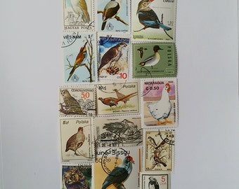 15 x used bird stamps