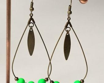 """Earrings """"creole drop"""" - Neon Green"""