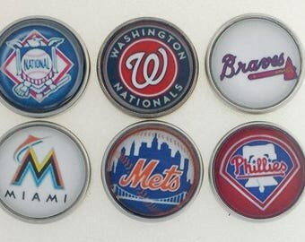 Baseball, Washington Nationals, Atlanta Braves, Miami Marlins, New York Mets, Philadelphia Phillies, ALE, ginger snaps jewelry, snap charms