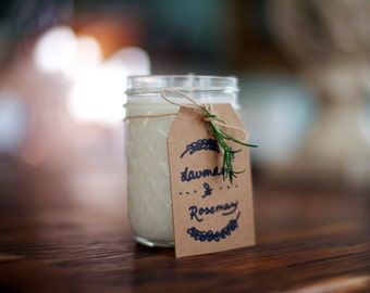 Lavender + Rosemary, Hand poured Herbal Soy Candle, 8oz
