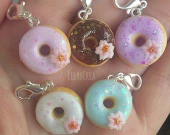 Glittery Donuts polymer clay cherry blossom