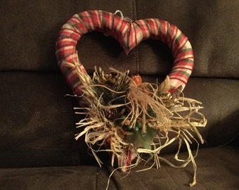 Ribbon wrapped heart wreath