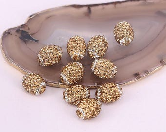 50pcs Gold Yellow Cylinder Shaped Pave Rhinestone Spacer bead For Jewelry Making