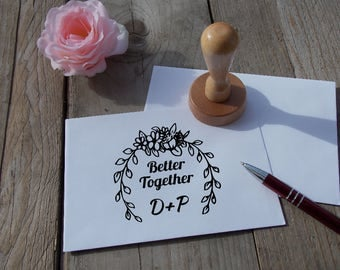 "Wedding stamp ""Better together"" ; Personalized ; Wedding ; Stamp ; Rubber"