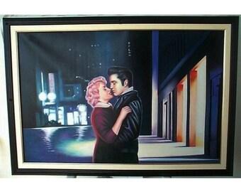 ELVIS MEETS MARILYN - 1984, After Helnwein, Boulevard of Broken Dreams, Fine Art Re-Creation, Oil On Canvas, 41 x 27 in