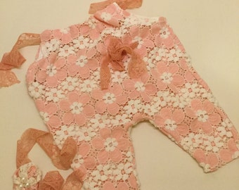GorgeousNewbornRomper{Antoinette},NewbornRomper,Girl'sRomperSuit,baby grow, baby playsuit,set with head band.RTS,UK seller,Photography Props