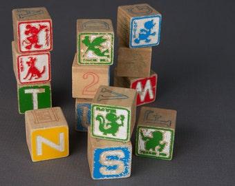 Vintage Disney wooden blocks | nursery decor