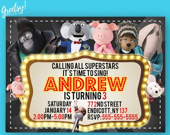 Sing Invitation, Sing Birthday, Sing Party, Sing Invites, Sing Printables, Sing Invite, Sing Printable Digital Card, Sing Movie Invitation