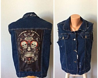 One of a kind skull Jean Vest size XL  should fit 1 XL as well