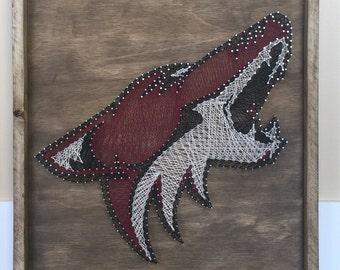 Coyotes String Art, Arizona coyotes String Art, Nail and String Art, NHL String Art, NHL Nail and String Art, Arizona Coyotes Art,String Art