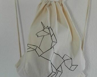 Kitbag origami Unicorn, hand painted