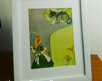 Framed vintage Alice in Wonderland Cheshire Cat 1964 print of 1940s Marjorie Torrey illustration nursery decor baby gift christening gift