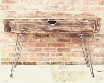 Reclaimed Wood Console Table / Charred Wood Finish / Industrial / Wood&Broome Design / Rustic