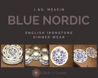 Vintage Blue Nordic Teacup and Saucer