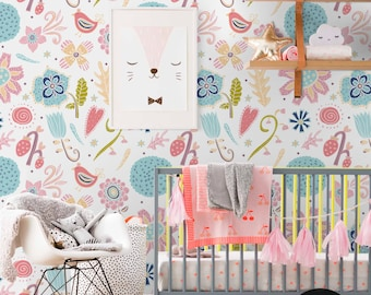 Vibrant, Kids wallpaper, Colorful pattern, Nursery wall mural, Reusable, Removable, Self adhesive, Pastel, Baby wallpaper #31