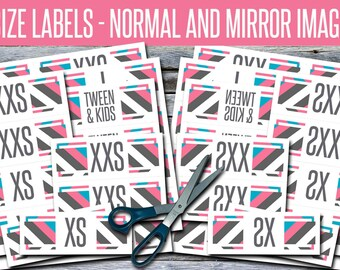 Size Labels - Normal and Mirror Image / Reverse / Backwards - Print Your Own! - SIZES05